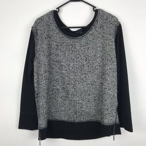 Cynthia Rowley Large Tweed Pull Over Zip Sweater
